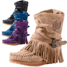 ankle boots, Tassels, Outdoor, Suede