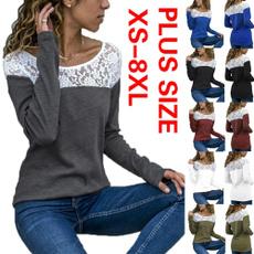 blouse, Plus Size, Lace, solidcolortshirt