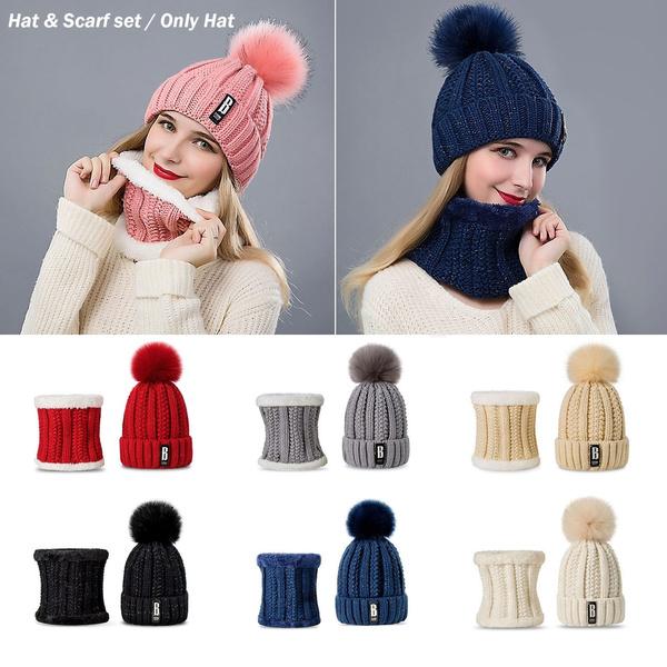 2020 Women Fashion Winter Warm Hat Scarf Set Knitted Beanies Scarf Hats Wish