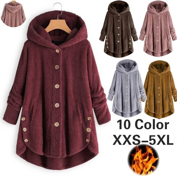 Fleece, Plus Size, Winter, Long Coat