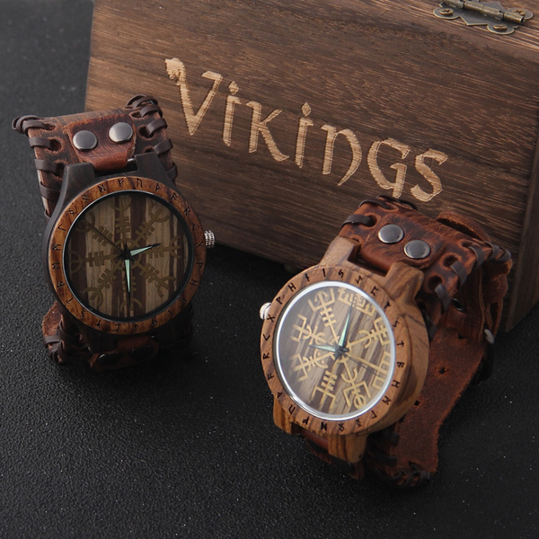 woodenwatch, Box, Leather Strap Watches, vikingwoodenwatch