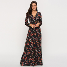 Deep V-Neck, Long Sleeve, Long sleeved, Dress