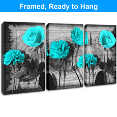 Blues, Bathroom, Flowers, Wall Art