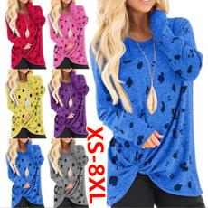 Plus size top, Cotton T Shirt, Long Sleeve, womens top