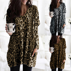 vnecktshirt, Plus Size, Long Sleeve, Leopard