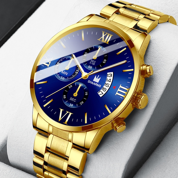 Chronograph, quartz, gold, Waterproof
