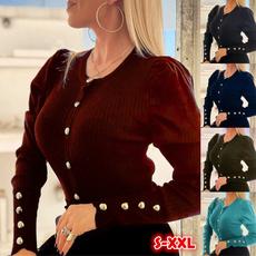 Autumn, Slim T-shirt, Sleeve, Women Blouse