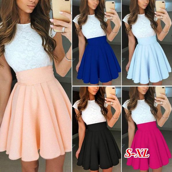 Summer, Fashion, pleated dress, cupsleeve
