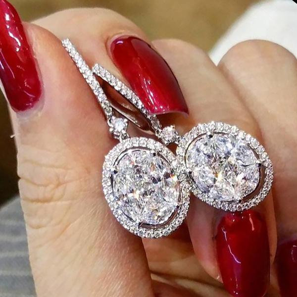 Sterling, DIAMOND, dangleearing, gold