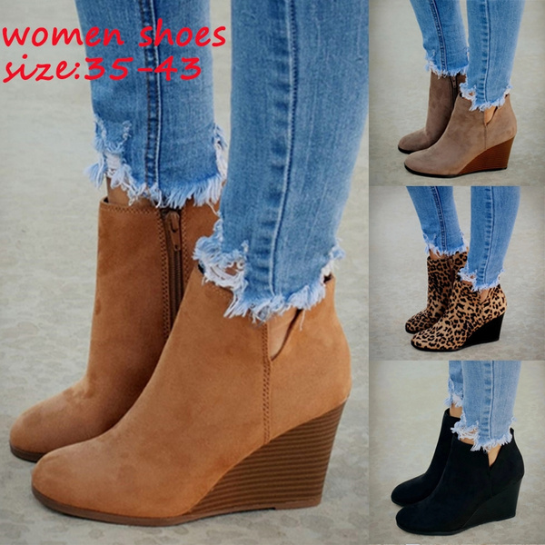 Womens Wedge Heel Ankle Boots Ladies Casual Suede Zipper Winter Boots Shoes Size