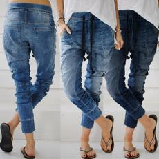 Blues, womens jeans, harem, elastic waist