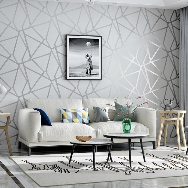 Modern Simple Geometric Pattern Non, Modern Living Room Wallpaper