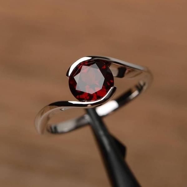 Sterling, Jewelry, Silver Ring, garnet