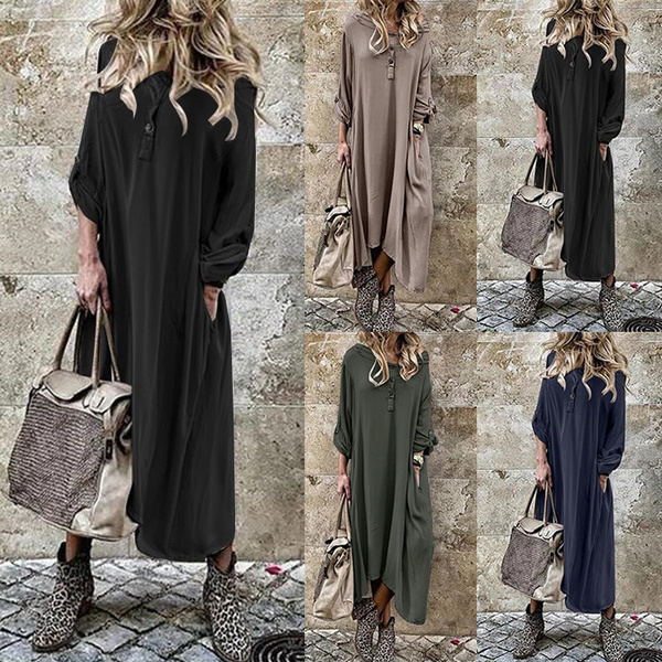 Plus Size, tunic, Autumn Dress, solidcolordres