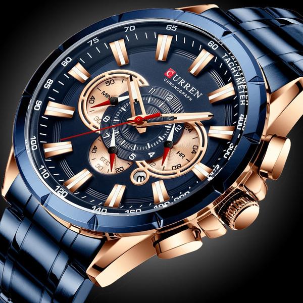 fullsteelwatch, chronographwatch, Waterproof Watch, quartz watch