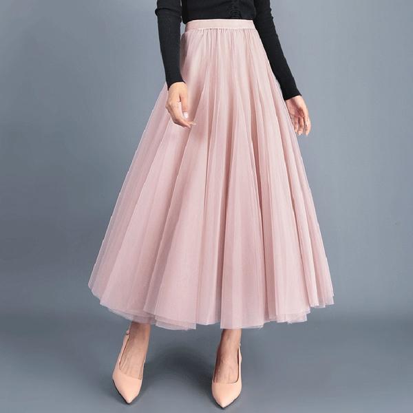 pink, Summer, long skirt, summer skirt