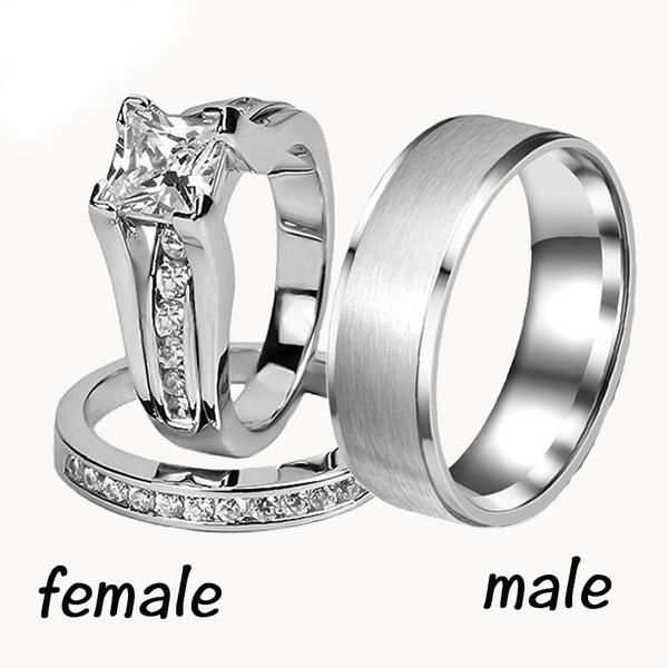Steel, weddingringset, Fashion, 925 sterling silver