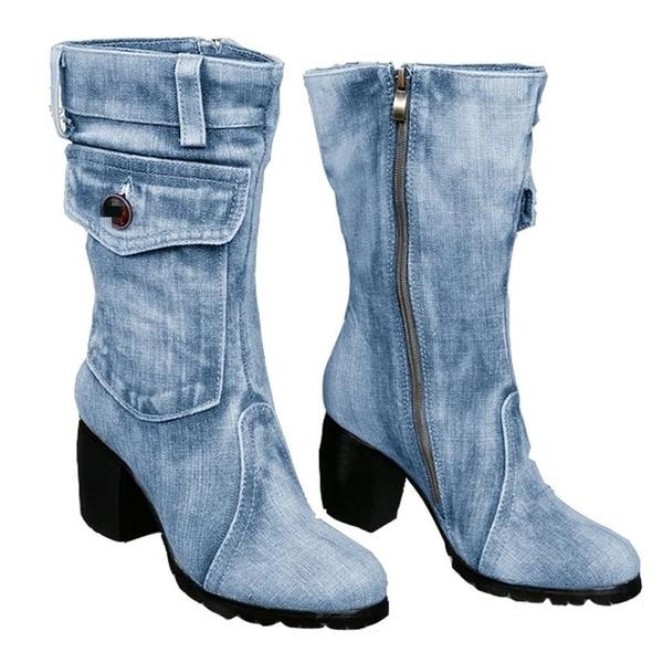Heel Mid Calf Boots Ladies