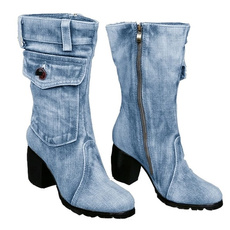 Winter, Womens Shoes, Cowboy, Denim
