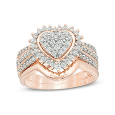 Sterling, Heart, DIAMOND, wedding ring