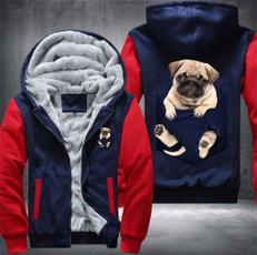 Fleece, pug, winterfleececoat, pugthickenhoodie