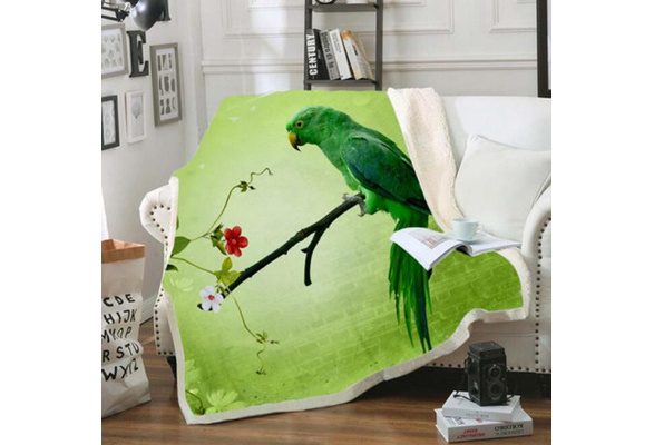 3D Colorful Parrot bridSherpa Blanket Sofa Couch Quilt Cover Throw Blanket B07