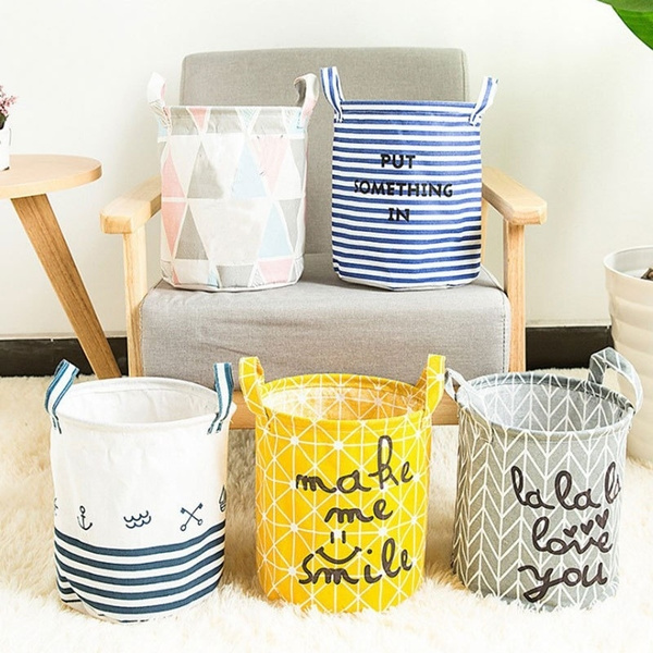 Toy, cylindricburlapcanvasstoragebasket, cottonfabriccloth, Home & Living