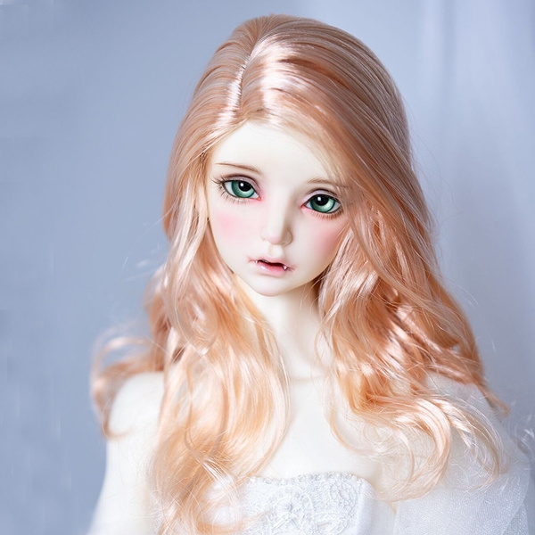 "7-8/"" 1//4 BJD Doll Wig Hair Medium Long Light Auburn Golden Brown Wavy Curly Tips"