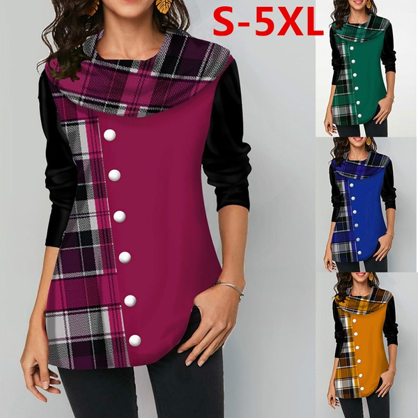 plaid shirt, Plus Size, Stitching, Sleeve