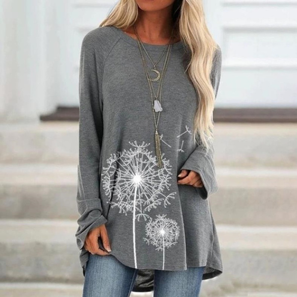Tops & Tees, Plus size top, Cotton T Shirt, Long Sleeve