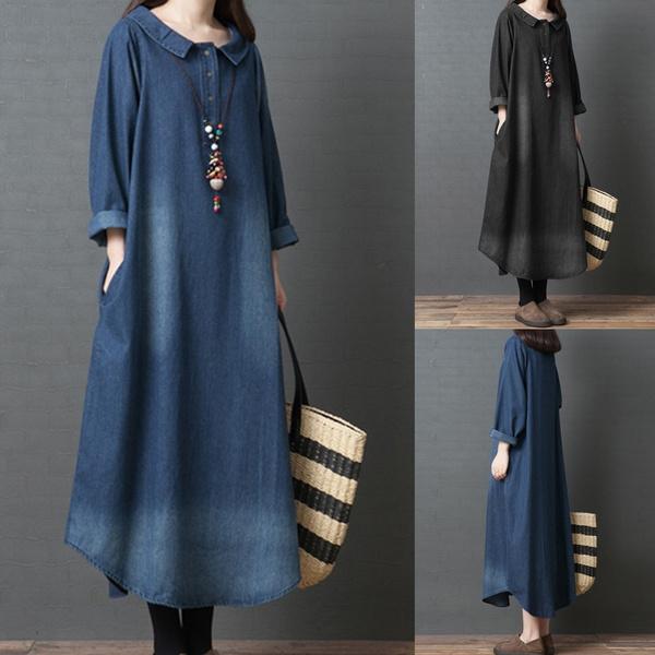 denim dress, Plus Size, doll, Long Sleeve