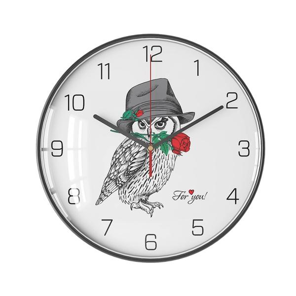 Owl, Clock, Simple, Metal