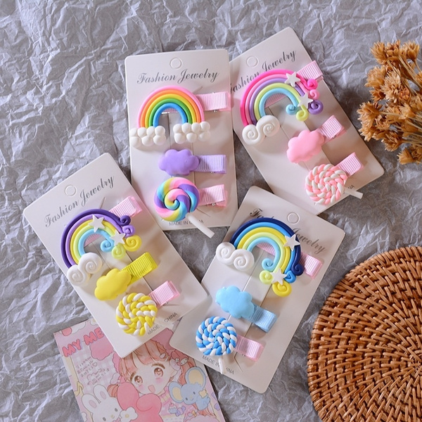 rainbow, Womens Accessories, hair, cottoncandyhairclip
