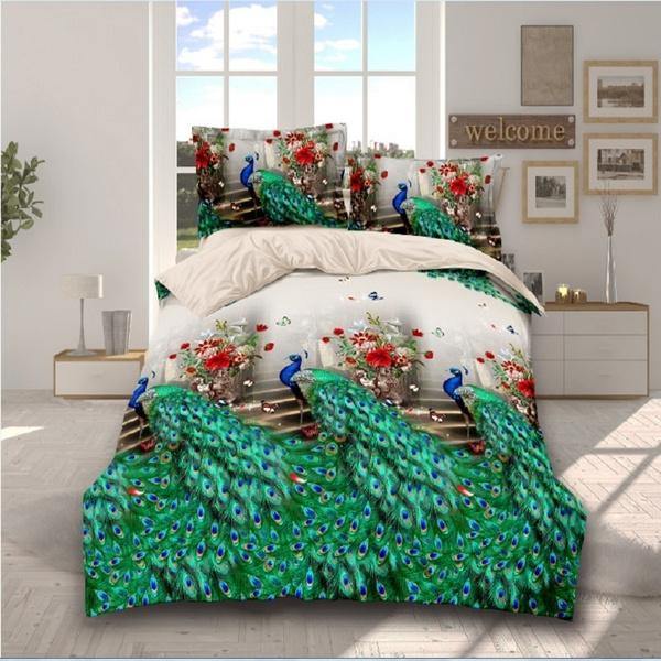 3dpeacockbeddingset, twinfullqueenkingsize, Polyester, bedclothe