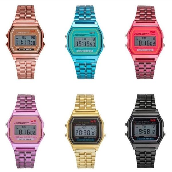 Steel, quartz, led, squarewatch