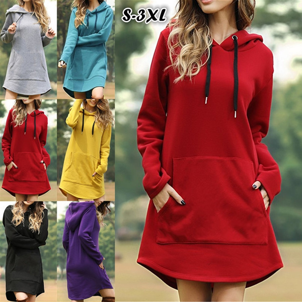 S XXXL Women Autumn Long Sleeve Solid Color Hooded Sweatshirts Pocket Baggy Dress | Wish
