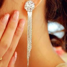 longtasselearring, fashiontasselearring, DIAMOND, longtasseldangleearring