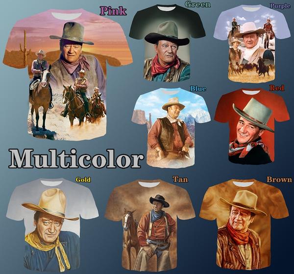 shortsleevestshirt, johnwayneprinttshirt, johnwayne3dprinttshirt, johnwaynefashiontshirt