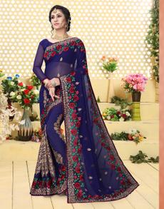 Blues, saree, sari, partywearsaree