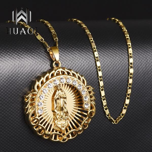 medalnecklace, Fashion, gold, Rhinestone