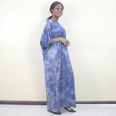 Blues, lotuspatternprinted, Elegant, Dresses