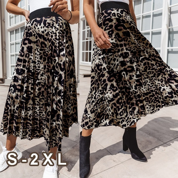 Skirts, long skirt, Plus Size, leopard print