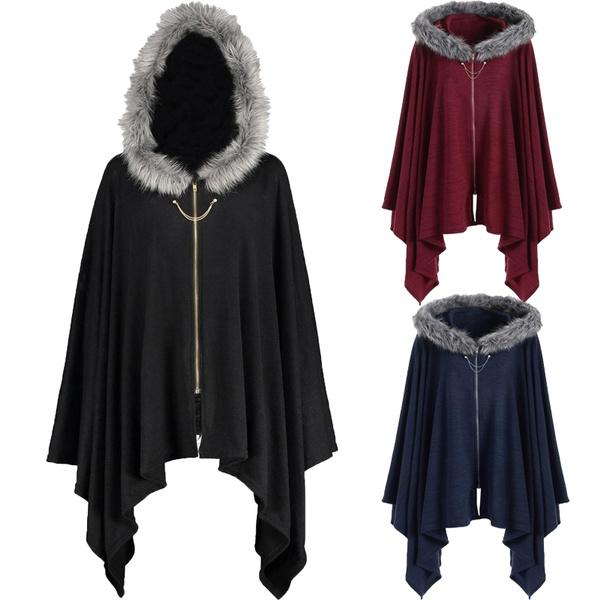 Plus Size, fur, asymmetric, Coat
