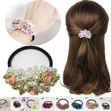 elastichairring, pearlhairband, Flowers, Elastic