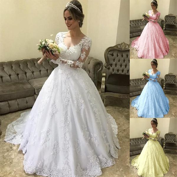 Splicing, weddinggowndre, Plus Size, Lace
