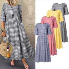 Plus Size, Dress, Loose, short sleeves