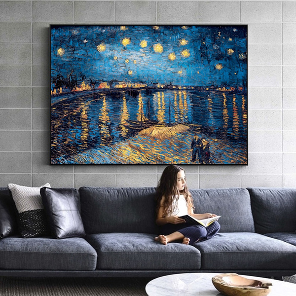 living room, Home Decor, canvaspainting, starrynight