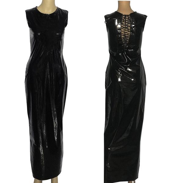 sleeveless, laceupdres, long dress, Dress