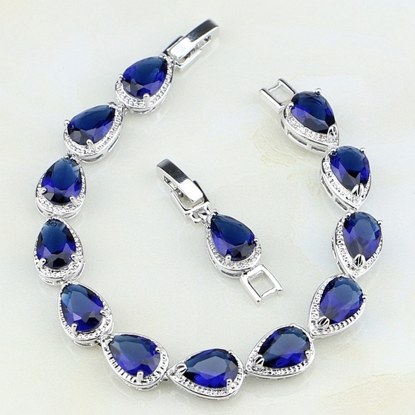 Charm Bracelet, Crystal Bracelet, Jewelry, Blue Sapphire