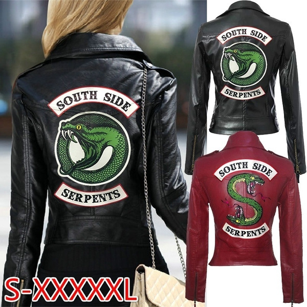 Riverdale Southside Serpents Women Faux Leather Jacket Biker Coat Jumpers UK6-18